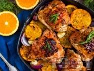 Рецепта Печено пиле с ароматна марината с портокали по италиански на фурна